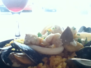 Seafood paella by the seaside