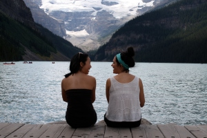 My good friend Candice and I at Lake Louise last summer.