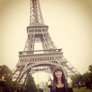 Drinking wine under the Eiffel Tower