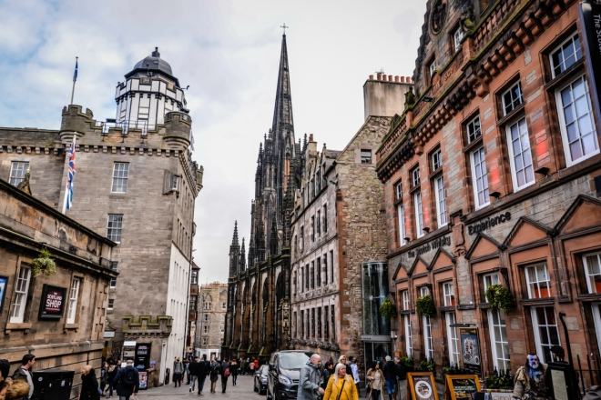 Our time in edinburgh, scotland - the view of the city streets in edinburgh